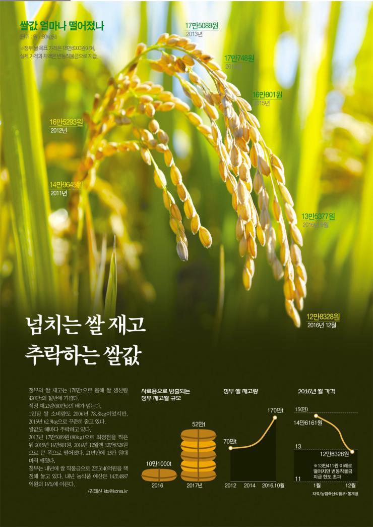넘치는 쌀 재고 추락하는 쌀값