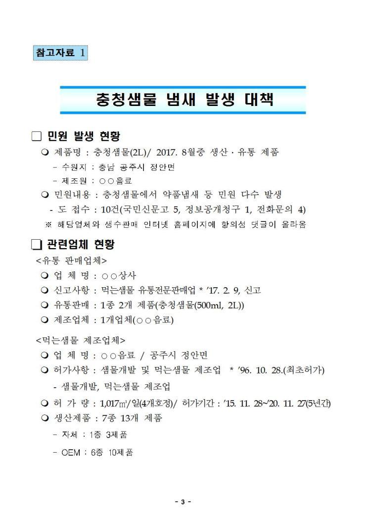 '충청샘물' 유통 중단·회수 긴급조치