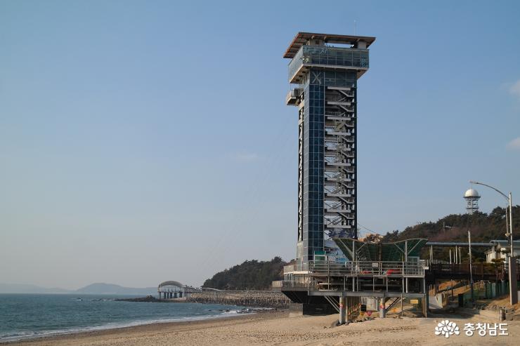 대천 해수욕장 짚트랙과 스카이 바이크 전경