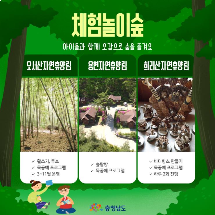 체험놀이숲 : 아이들과 함께 오감으로 숲을 즐겨요