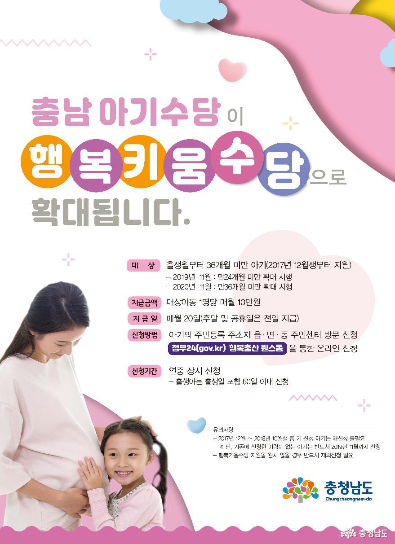 공주시, '행복키움수당' 24개월 미만 모든 아기로 확대 지급