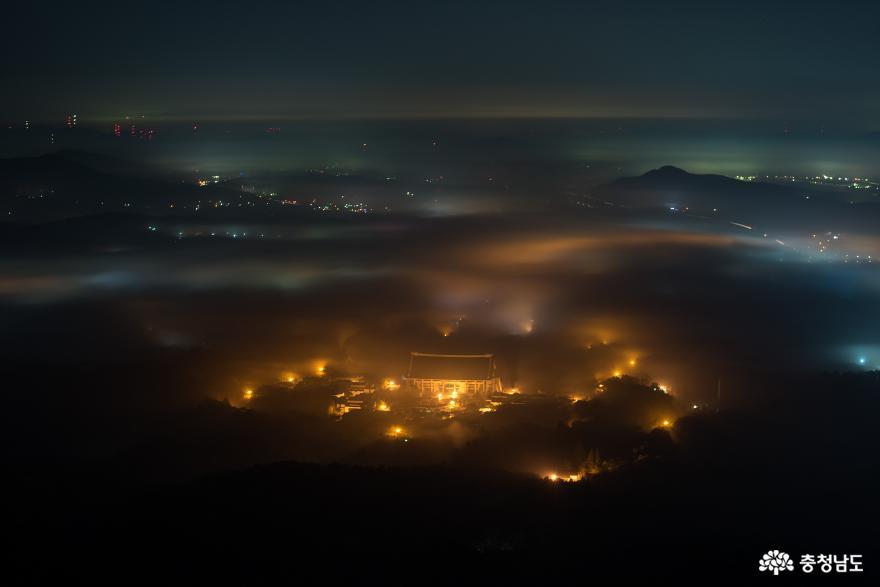 가을 운해가 흐르던 흑성산의 밤
