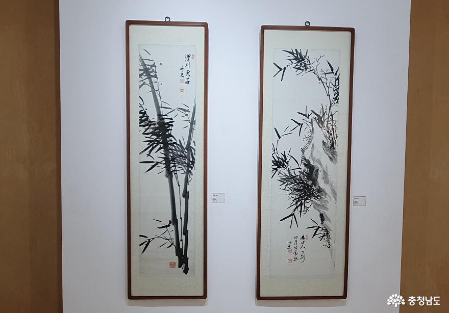 고암 이응노의 대나무 수묵화. 이응노는 대나무 그림을 자그려 청사라는 호를 얻기도 했다.