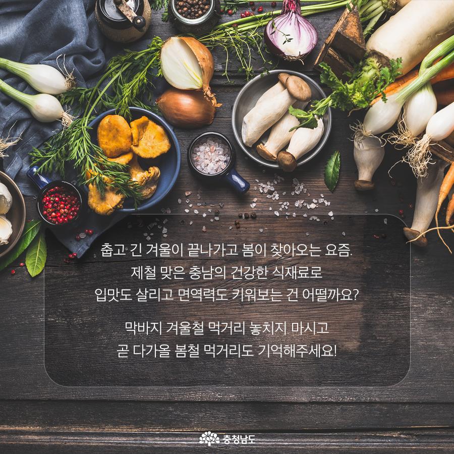제철 맞은 충남의 건강한 식재료로 입맛도 살리고 면역력도 키워보는 건 어떨까요?