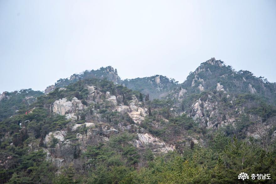 용봉산 산림휴양관에서 올려다 보는 용봉산의 모습