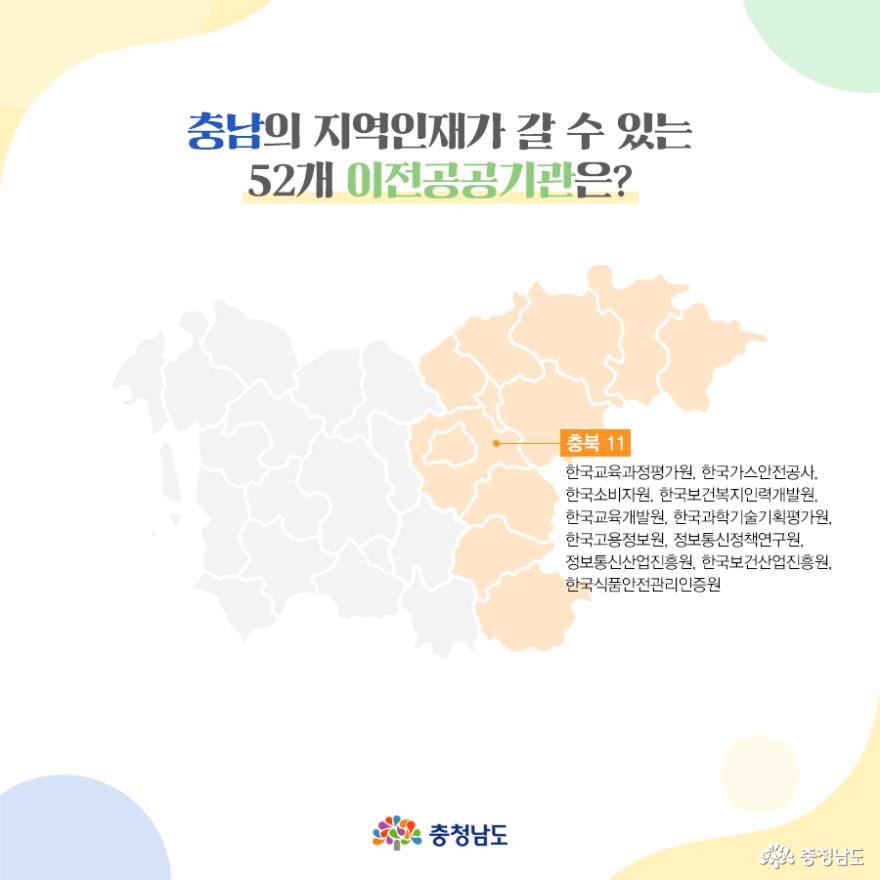 충남의 지역인재가 갈 수 있는 52개 이전공공기관 - 충북(11)