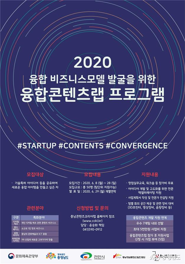 충남정보문화산업진흥원, '2020 융합콘텐츠랩 프로그램' 참가자 모집