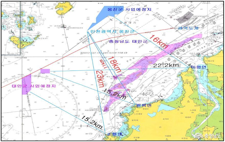 ▲ 태안군 허가한 이곡지적과 옹진군 허가구역 장안사퇴 주변의 모습