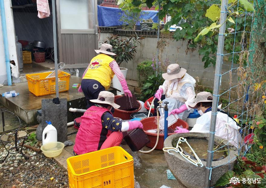 태안군자원봉사센터 재해재난봉사단, 아산시 송악면 침수피해 현장 찾아 '긴급 봉사 나서!' 2
