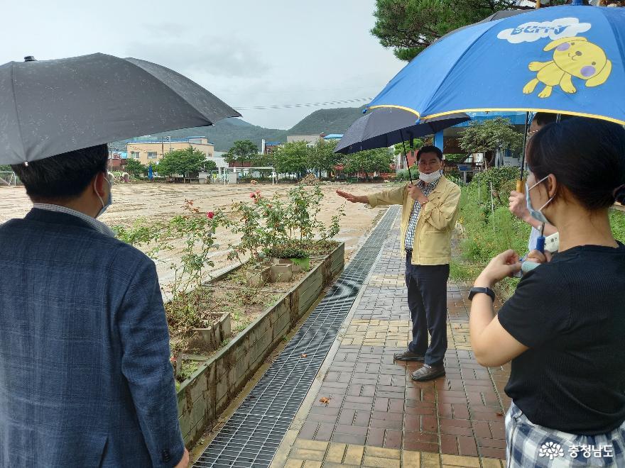 아산시, 집중호우 피해 학교 복구현장 방문