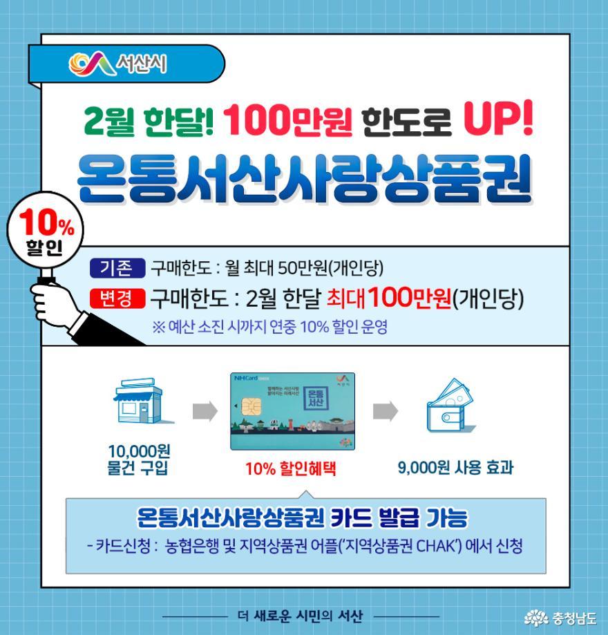 서산시, 온통서산사랑상품권 명절 맞이 구매한도 100만원으로 UP!