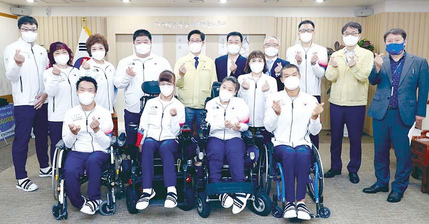 2020 도쿄 패럴림픽 보치아 금메달 최예진 선수 등 선수단 격려